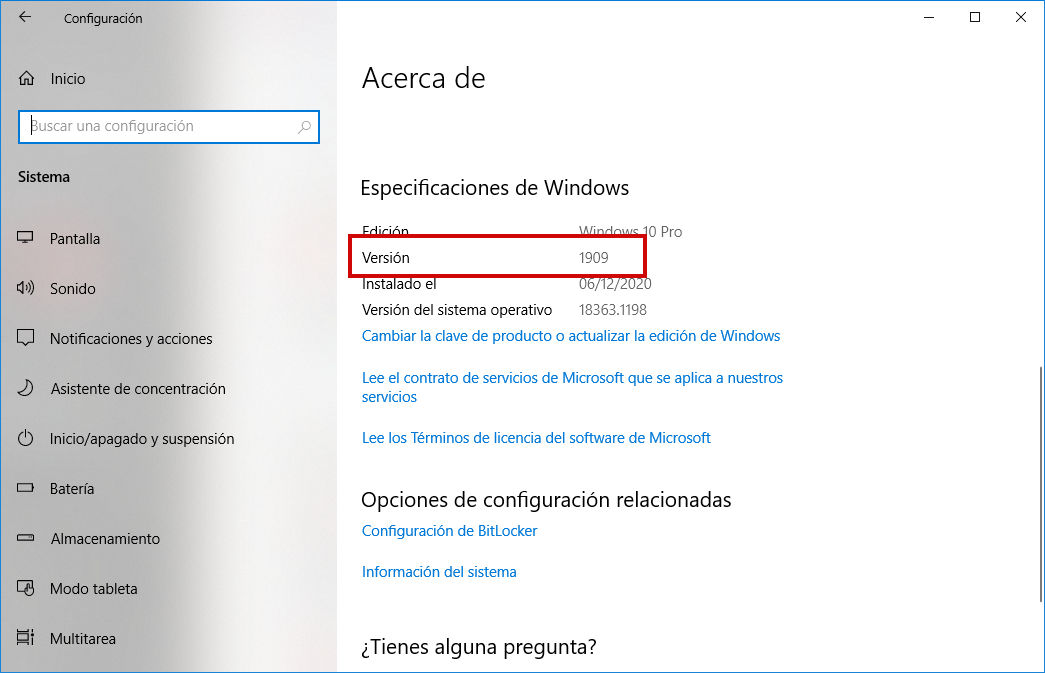 Configuración de Windows - Versión de Windows Update