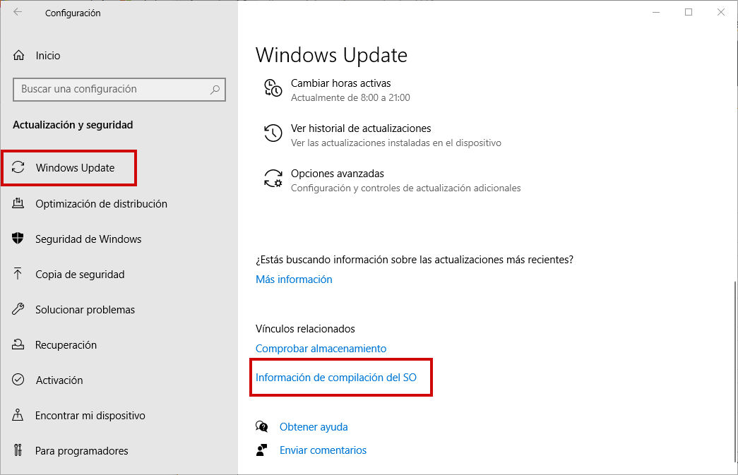 Configuración de Windows - Windows Update