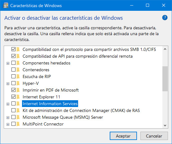 Programas y características de windows